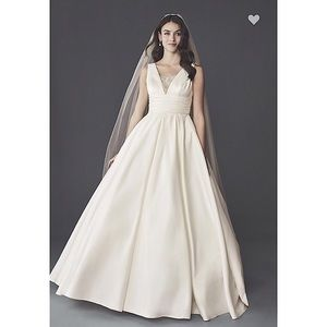 David's Bridal Cummerbund Satin Wedding Ballgown